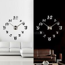 New DIY Large Wall Clock Home Office Room Decor Removable Mirror Sticker New