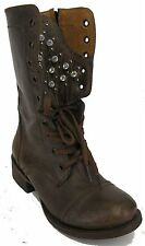 Womens New Leather Cowgirl Ankle Biker Rocker Fashion Lace up Boots Brown sz 6.5