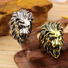 Stainless Steel Lion's Head Ring Men's Vintage Cool Ring American Size 8-10 FE