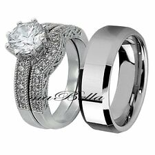 Nice His Tungsten & Hers .925 Sterling Silver Engagement Wedding Ring Band Set
