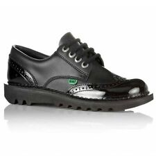 Kickers KICK LO BROGUE Ladies Womens Casual Patent Leather Lace-Up Shoes Black