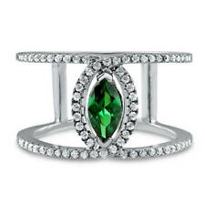 BERRICLE Sterling Silver Green CZ Open Bar Fashion Right Hand Ring