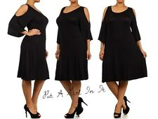 SEXY PLUS SIZE BELL SLEEVE COLD SHOULDER PEEP LITTLE BLACK MINI DRESS 1X 2X 3X