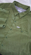 COLUMBIA Men's Short Sleeve Button Front Shirt Size XXL 2XL Green Omni Shade