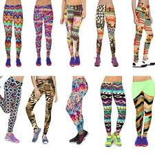 Women Capris Leggings High Waisted Floral Printed Yoga Pants Fitness Workout M/L
