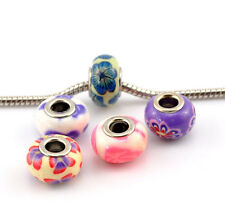 Wholesale Lots Mixed Flower Pattern Polymer Clay European Charm Beads 15x9mm