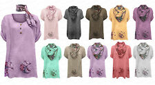 Womens Ladies Blouse Top Tunic Floral Cotton Italian Scarf Plus Size Lagenlook