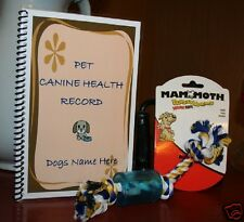 Pet Canine Health Dogs Shot Vaccination Record Book plus Mammoth Squeaky Rope