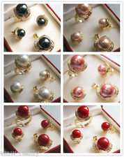 Wedding jewelry South sea Shell Pearl Earrings Ring & Necklace Pendant Set