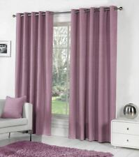 PURPLE 100% COTTON FULLY LINED RING TOP CURTAINS DRAPES 9 SIZES