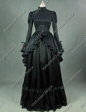 Black Adult Women Costumes Edwardian Gown Halloween Steampunk Witch Dress 324
