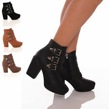 WOMENS LADIES FAUX LEATHER CHELSEA BUCKLE CHUNKY HEEL ANKLE BOOTS SHOES SIZE 3-8