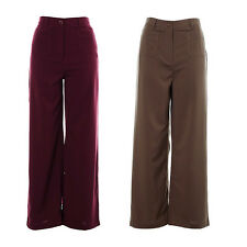 Women's Plain High Waist Flared Trousers Wide Leg Palazzo Ladies Baggy Trousers