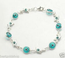 Ocean Blue Playing Dolphin Evil Eye Greek Mati Bracelet Real 925 Sterling Silver