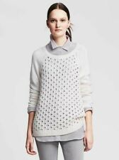 NEW WOMENS BANANA REPUBLIC S M L XL PERFORATED FRONT CREW PULLOVER SWEATER WHITE