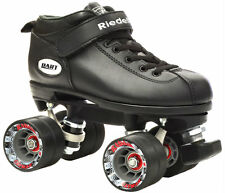 Riedell Dart Vader Quad Roller Derby Speed Skates w/ 2 Pair Laces Black & Gray