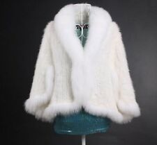 100%Hand Knitted Real Mink Fur Coat Jacket Fox fur collar Cape Stole Shawl Scarf