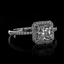 1.80Ct Princess Cut Engagement Ring in 14K White Gold - Matching Band Available