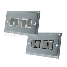 Slimline Satin Brushed Matt Chrome  4 Gang Switch 10 Amp Quadruple 2 Way