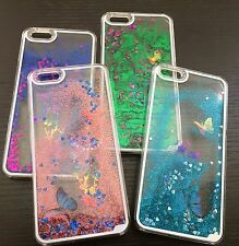 For iPhone 6 Plus -HARD SKIN CASE COVER Flowing Sparkle Liquid Glitter Butterfly