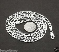 """4.6mm 3/16"""" Solid Figaro Link Chain Necklace Real 925 Sterling Silver ALL SIZES"""