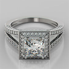 2.46Ct Princess Cut Engagement Ring in 14K White Gold - Matching Band Available
