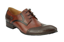 Men's Two Tone Real Polished Leather Tan Brown Derby Wingtip Brogue GATSBY Shoes