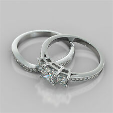 2.40Ct Princess Cut Engagement Ring & Matching Band Available in 14K White Gold