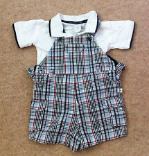 0-3 Months Junior J Jasper Conran Blue Red Checked Dungarees & White Polo Shirt