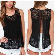Size S-XXXXL Ladies Lace Tank Top Sleeveless T-shirt Vest Summer Blouse Tee Tops