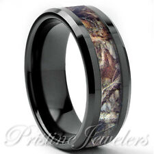 Titanium Oak Real Forest Camo Ring Mossy Tree Wedding Band Men Black Silver 8mm