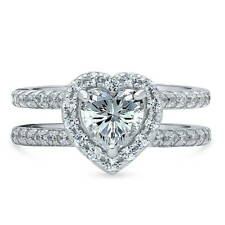 BERRICLE Silver Heart Shaped Cubic Zirconia CZ Halo Engagement Ring 1.89 Carat