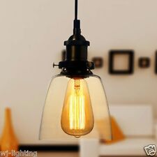 New Clear Amber Glass Shade Ceiling Chandelier Vintage Retro Pendant Lamp Light