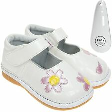 Girls Toddler Faux Leather Squeaky Shoes Patent - White Wide Fit & Shoe Horn