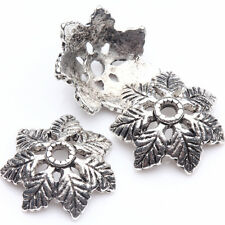 15/30Pcs Tibetan Silver Plated Carved Leaves Shaped Spacer Bead Caps DIY 15*4mm