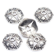 15/30Pcs Tibetan Silver Plated Hexagonal Carved Flower Spacer Bead Caps 15*4mm