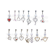 1 x Heart Belly Bar Navel Choice of Style Gems Dangles Vintage Body Jewellery