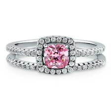 BERRICLE Sterling Silver Cushion Pink CZ Halo Engagement Ring Set 0.885 Carat