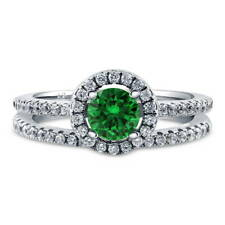 BERRICLE 925 Silver Simulated Emerald CZ Halo Engagement Ring Set 0.735 Carat
