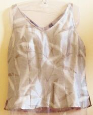 DANA BUCHMAN LIGHTWEIGHT SILK TOP IN LEAF PATTERN OF CREAM/SHADES OF TAUPE-4