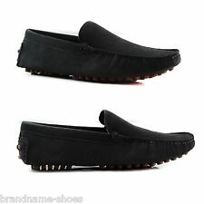 DARK GREY ZASEL MENS SUEDE LEATHER CASUAL BLACK SLIP ON BOAT DECK LOAFERS SHOES