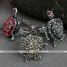 Adjustable Silvery Crystal Cute Tortoise Turtle Cocktail Party Finger Ring Gift