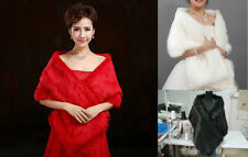 New Red/Black/Ivory Faux Fur Jacket Bridal Wedding Wrap Shrug Bolero Shawl Cape