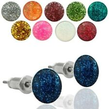 One Pair Ear Stud Earring Glitter glitter glitter blue red silver pink green