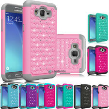Hybrid Rubber Bling Crystal Case Cover For Samsung Galaxy Grand Prime /LTE 4G
