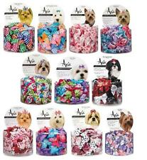 BULK DOG BOWS & BARRETTES Canister Assorted Designs Rubber Band Clip Kids Girls