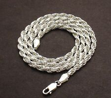 3.50mm Solid Diamond Cut Rope Chain Necklace Real 925 Sterling Silver