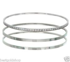 Steel by Design Set of 3 Bangle Bracelet Crystal Accents Stainless Steel QVC