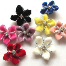 40/200PC Velvet Ribbon Flowers Bows W/Rhinestone Appliques Wedding 25mm Mix A451