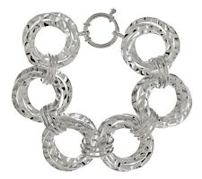 Hand Made Polished Hammered Circle Bracelet REAL 925 Sterling Silver QVC